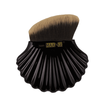 Multifunctional Shell Shape Fiber Hair Bevelled Foundation Brush -  BLACK