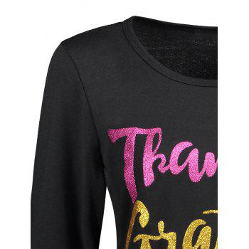 Thanksgiving Thankful Blessed Long Sleeve T-shirt - BLACK BLACK