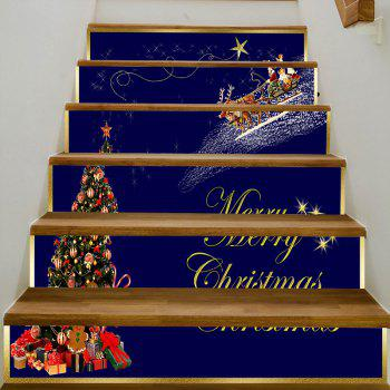 Christmas Deer Sleigh Tree Pattern Stair Stickers - COLORMIX 100*18CM*6PCS