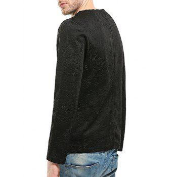 Florals Emboss Zippers Long Sleeve T-shirt - BLACK BLACK