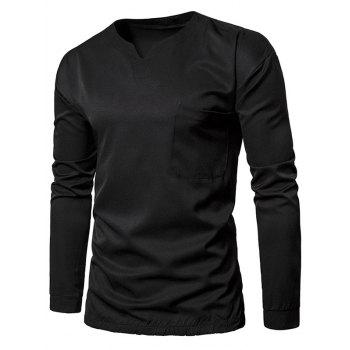 Pocket Elastic Waist Long Sleeve T-shirt - BLACK BLACK