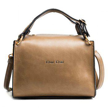 Letter Print Faux Leather Handbag With Strap - COFFEE COFFEE