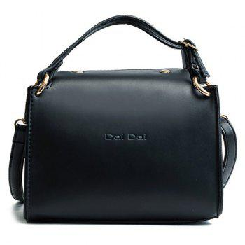 Letter Print Faux Leather Handbag With Strap - BLACK BLACK