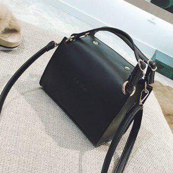 Letter Print Faux Leather Handbag With Strap -  BLACK