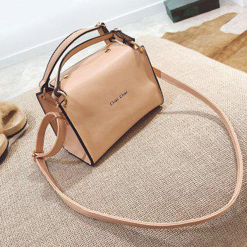 Letter Print Faux Leather Handbag With Strap - APRICOT