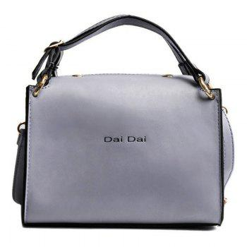 Letter Print Faux Leather Handbag With Strap - LIGHT GRAY LIGHT GRAY