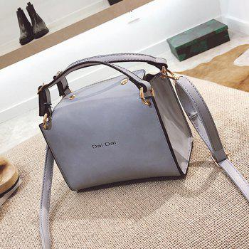 Letter Print Faux Leather Handbag With Strap - LIGHT GRAY