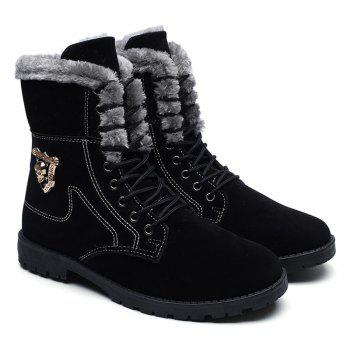 Faux Fur-trim Skull Embellished Ankle Boots - BLACK 39
