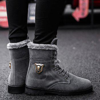 Faux Fur-trim Skull Embellished Ankle Boots - GRAY 42