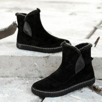 Faux Fur Trim Slip On Ankle Boots - BLACK 39