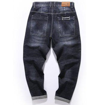 Graphic Print Zip Fly Tapered Fit Jeans - BLACK 40