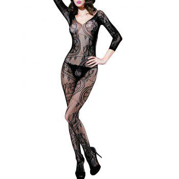 Hollow Out Low Back Flower Jacquard Fishnet Bodystockings - BLACK BLACK