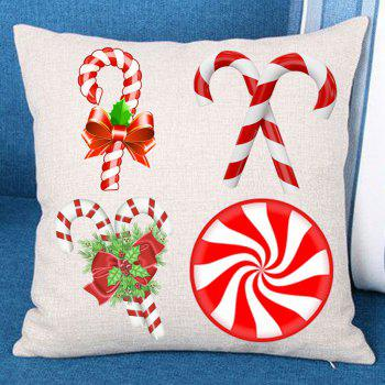 Christmas Candy Stick Print Decorative Linen Pillowcase - COLORFUL COLORFUL