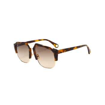 UV Protection Crossbar Embellished Half Frame Sunglasses -  LEOPARD/BROWN