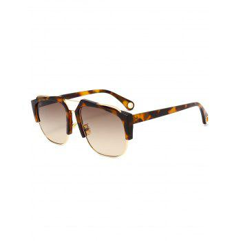 UV Protection Crossbar Embellished Half Frame Sunglasses - LEOPARD+BROWN LEOPARD/BROWN