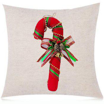 Christmas Candy Cane Printed Linen Throw Pillow Case - RED RED