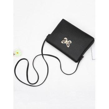Butterfly Metal Embellished Crossbody Bag -  BLACK