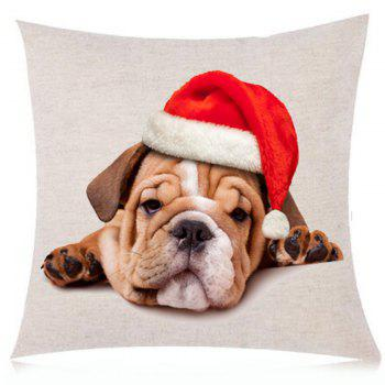 Christmas Dog Printed Throw Pillow Case - BROWN BROWN