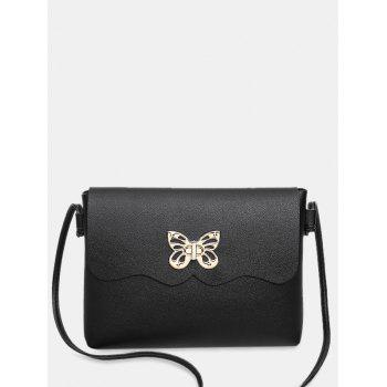 Butterfly Metal Embellished Crossbody Bag - BLACK BLACK