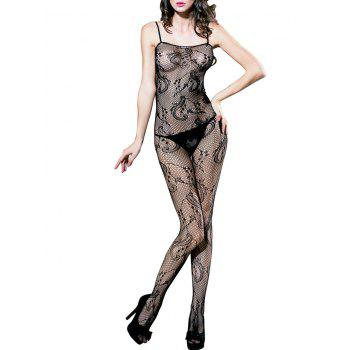 Sleeveless Fishnet Lingerie Bodystockings - BLACK BLACK