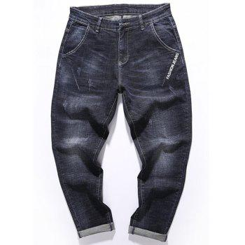 Graphic Print Zip Fly Tapered Fit Jeans - BLACK BLACK
