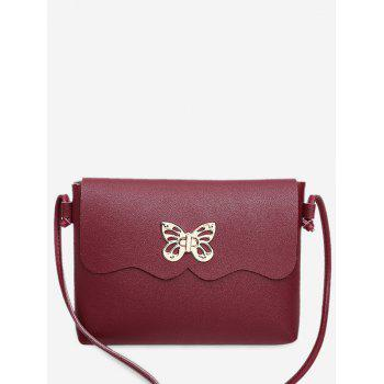 Butterfly Metal Embellished Crossbody Bag - RED RED