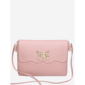 Butterfly Metal Embellished Crossbody Bag - PINK PINK