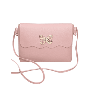 Butterfly Metal Embellished Crossbody Bag -  PINK