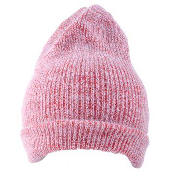 Outdoor Flanging Decorated Crochet Knitted Slouchy Beanie - PINK PINK