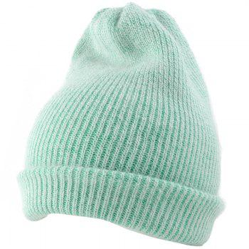 Outdoor Flanging Decorated Crochet Knitted Slouchy Beanie - LIGHT GREEN LIGHT GREEN