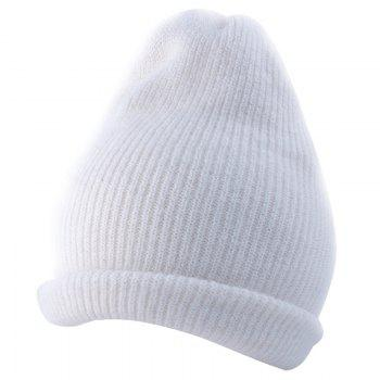 Outdoor Flanging Decorated Crochet Knitted Slouchy Beanie - WHITE WHITE