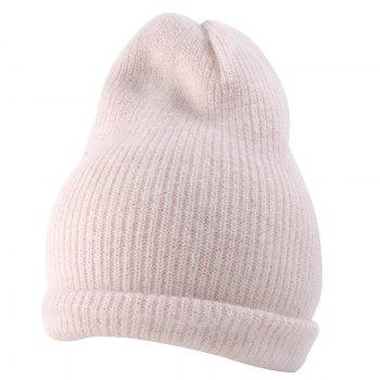 Outdoor Flanging Decorated Crochet Knitted Slouchy Beanie - LEATHER PINK LEATHER PINK