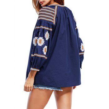 Ethnic Print Tassels Blouse - CADETBLUE CADETBLUE