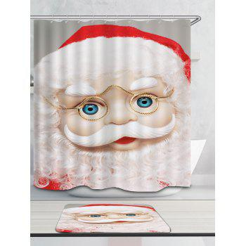 Eyeglasses Santa Claus Printed Waterproof Shower Curtain - WHITE W59 INCH * L71 INCH