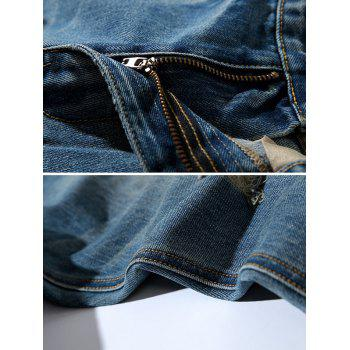 Tapered Fit Zipper Fly Retro Distressed Jeans - BLUE 38