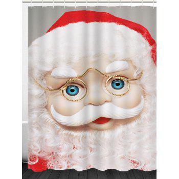 Eyeglasses Santa Claus Printed Waterproof Shower Curtain - WHITE W71 INCH * L71 INCH