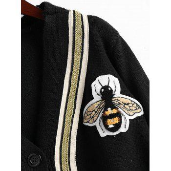 Button Up Plus Size Bee Patched Cardigan - BLACK ONE SIZE