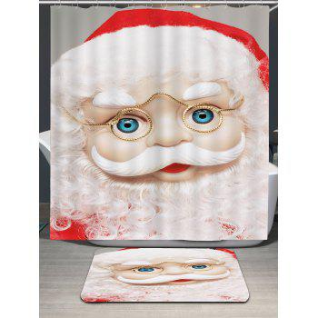 Eyeglasses Santa Claus Printed Waterproof Shower Curtain - WHITE W71 INCH * L79 INCH