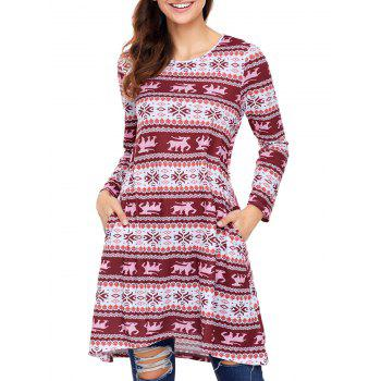 Christmas Snowflake Print Long Sleeve Dress - RED RED