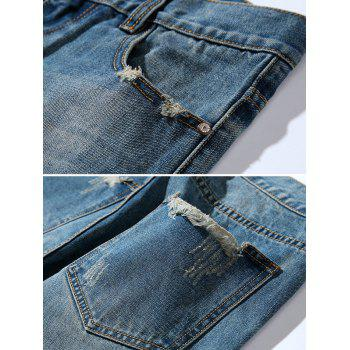 Tapered Fit Zipper Fly Retro Distressed Jeans - BLUE 32