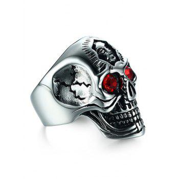Rhinestone Stainless Steel Engraved Skull Ring - SILVER 9