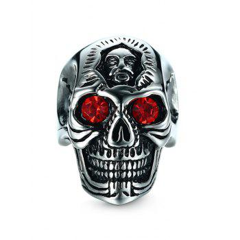 Rhinestone Stainless Steel Engraved Skull Ring - SILVER SILVER