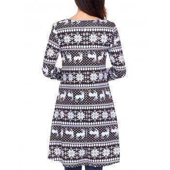 Christmas Snowflake Print Long Sleeve Dress - BLACK XL