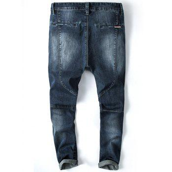 Tapered Fit Zip Fly Faded Whisker Jeans - DEEP BLUE 36