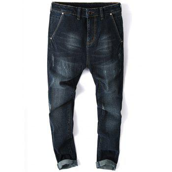 Zip Fly Whisker Design Tapered Fit Jeans - PURPLISH BLUE PURPLISH BLUE