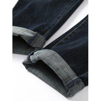 Zip Fly Whisker Design Tapered Fit Jeans - PURPLISH BLUE 36