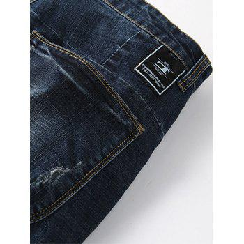 Pocket Design Beam Feet Tapered Denim Joggers - DEEP BLUE 38