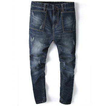Pocket Design Beam Feet Tapered Jogger Jeans - DEEP BLUE DEEP BLUE