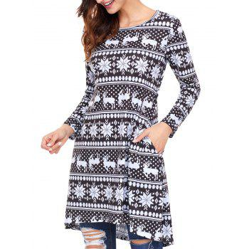 Christmas Snowflake Print Long Sleeve Dress - BLACK BLACK