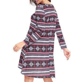Christmas Snowflake Print Long Sleeve Dress - RED/BLACK RED/BLACK